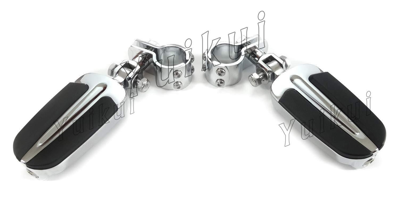 YUIKUI RACING オートバイ汎用 1-1/4インチ(32mm)/1インチ(25.4mm)エンジンガードのパイプ径に対応 ハイウェイフットペグ タンデムペグ ステップ KAWASAKI VN800 (All MODELE) All years等適用   B07PX2LDMQ