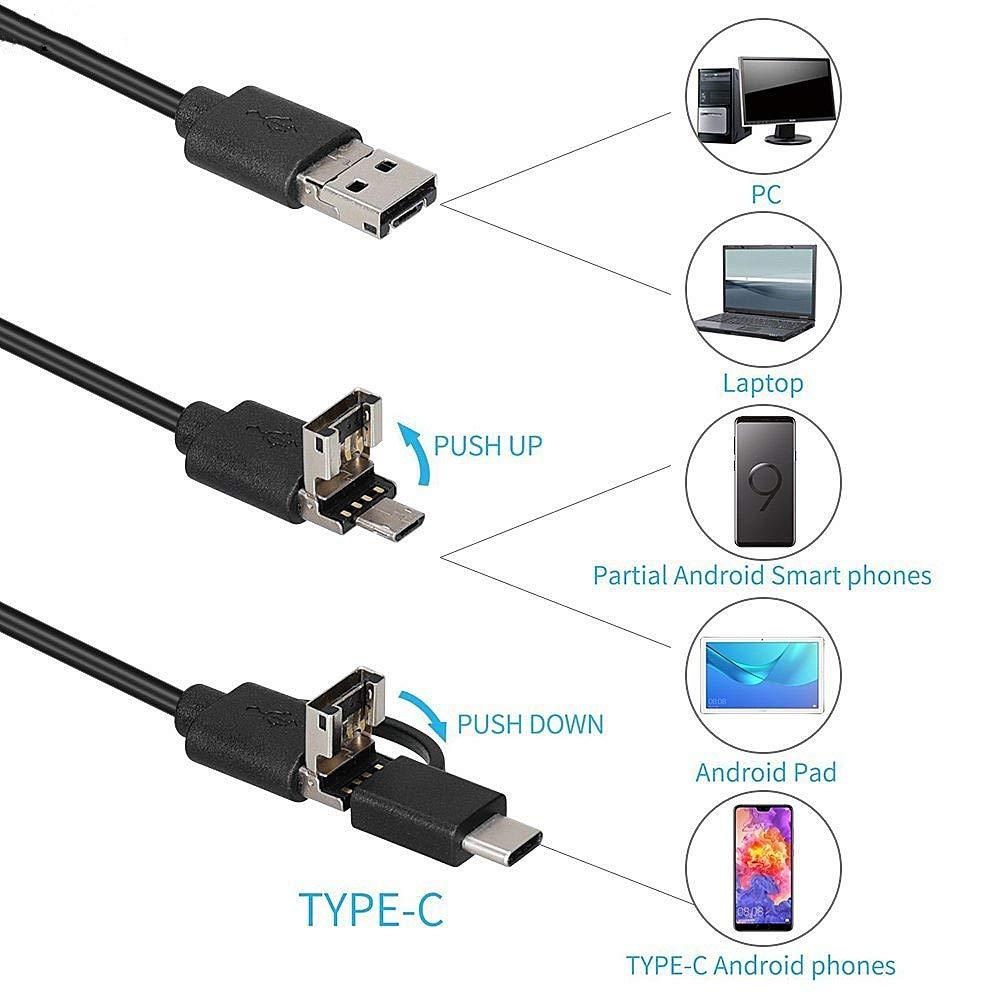 USB per smartphone e tablet iOS e Android fotocamera con zoom semirigido IP67 1080p OTG videocamera per ispezione 5,5 mm Decrall Endoscopio ultra sottile da 5 m impermeabile