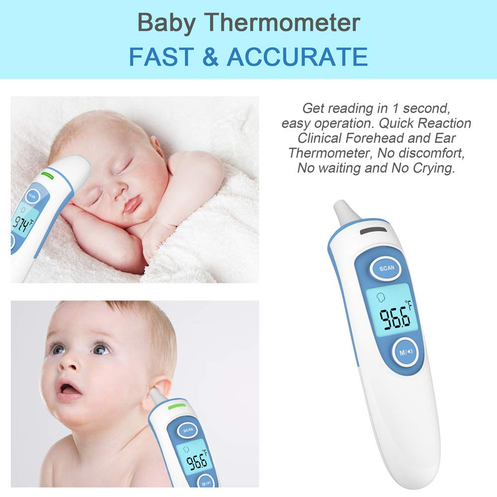 FOJOJO Upgraded Baby Thermometer, Medical Digital Ear Thermometer with Forehead Function, Digital Infrared Temporal Thermometer for Fever,Instant Accurate Reading for Baby Kids and Adults