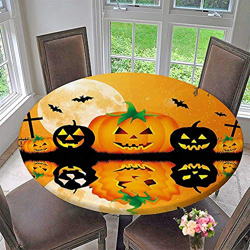 (Mikihome Circular Table Cover Spooky Carved Halloween Pumpkin Decor Full Moon with Bats and Grave by Lake for Wedding/Banquet 31.5