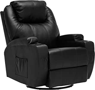 Mecor Massage Recliner Chair PU Leather Recliner Chair with Heat Rocker Recliner with 360 Degree Swivel/Cup Holders/Remote Control for Living Room (Black)