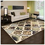 rustic chic decor Superior Modern Viking Collection Area Rug, 8mm Pile Height with Jute Backing, Chic Textured Geometric Trellis Pattern, Anti-Static, Water-Repellent Rugs - Multi-Colored, 5' x 8' Rug