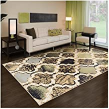 Superior Modern Viking Collection Area Rug, 8mm Pile Height with Jute Backing, Anti-Static, Water-Repellent - Multi-Colored, 2' x 3' Rug
