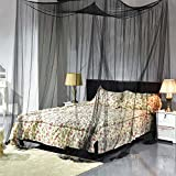 WskLinft Bed Canopy Mosquito Net Curtain Solid Color Mesh 4 Doors Bedroom Home Decor Gift - Black