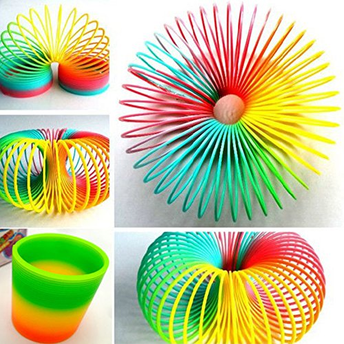 Bluelans Magic Plastic Rainbow Spring Slinky Children Classic Educational Toy for Kids Boys Girls Xmas Gifts Xmas Stocking Fillers Party Bag Gifts