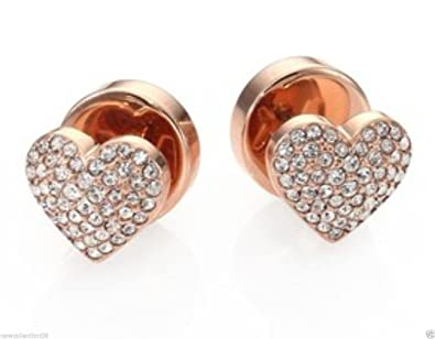 6583787d1 MICHAEL KORS Rose Gold Tone Clear Pave Puffy Heart Stud Earring:  Amazon.co.uk: Jewellery