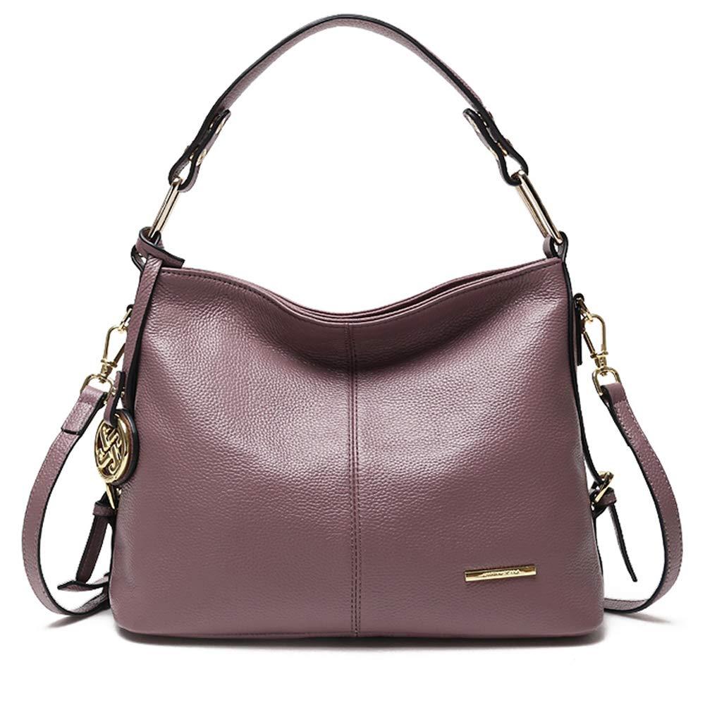 Cooserry Hobo Handbags, Genuine Leather Shoulder Crossbody Zipper Bag with Pockets for Women, Rose Pink