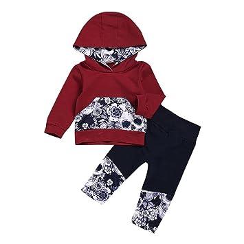 04f9797c8 2Pcs Newborn Baby Boys Girls Floral Skull Bone Print Long Sleeve Hoodie T Shirt  Tops+