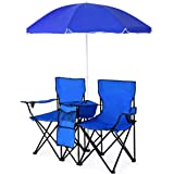 ReunionG Double Portable Camping Chairs, Outdoor Picnic Folding Chairs with Removable Umbrella & Mini Table Carrying Bag, Sha