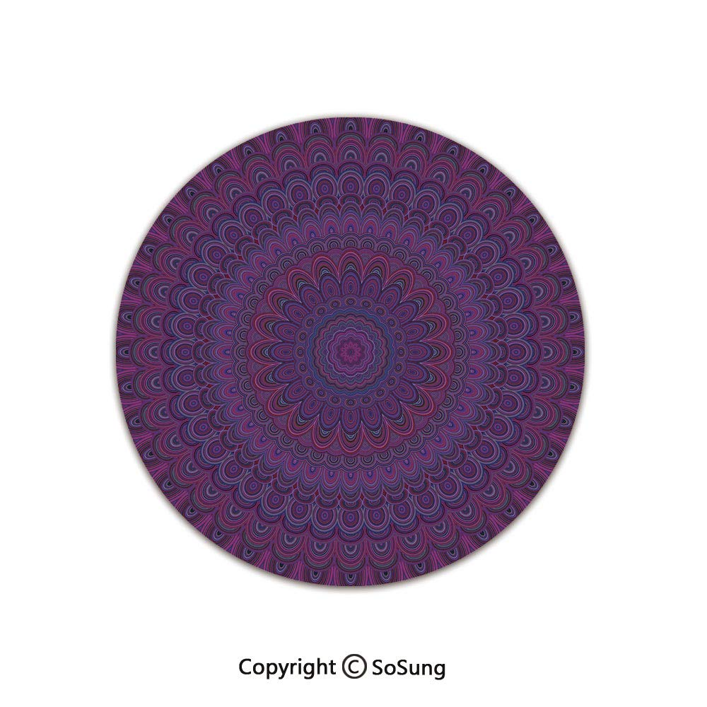 Eggplant Round Area Rug,Purple Mandala Shape with a Kaleidescopic Style Sixties Inspired Oriental Abstract Art Decorative,for Living Room Bedroom Dining Room,Round 6'x 6',Purple by SoSung