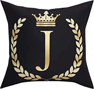 Black Pillow Cover Throw Pillow Case English Alphabet J Throw Pillow Case Modern Cushion Cover Square Pillowcase Decoration for Sofa Bed Chair Car 18 x 18 Inch