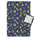 Roostery Sun Galaxy Universe Moons Solar Eclipse Gold Glitter Tea Towels Great Total Solar Eclipse Blue by Selmacardoso Set of 2 Linen Cotton Tea Towels