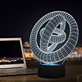 Ticent ZJB-Visual light15 3D Illusion Night Light, Ring Modern LED Table Desk Lamps, Ticent 7 Colour Changing Nightlights Touch Control Rooms Bedrooms Decoration Lighting for Kids, Teens, Adults, Girls, Boys, Teens, Nurse