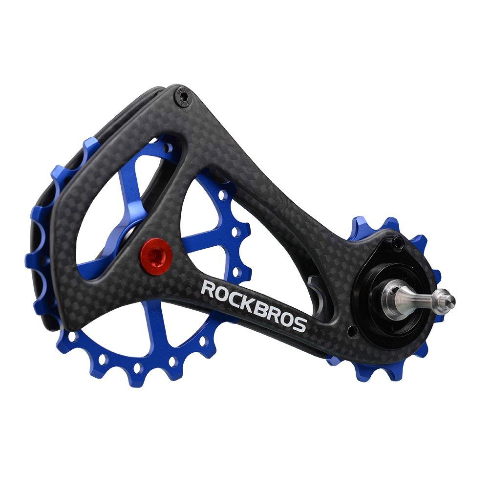 ROCKBROS(ロックブロス)17T ディレイラー プーリー ビッグプーリー カーボン 自転車プーリー 20インチ以上 RIVAL/FORCE/RED対応 B0772CV26Y ブルー ブルー