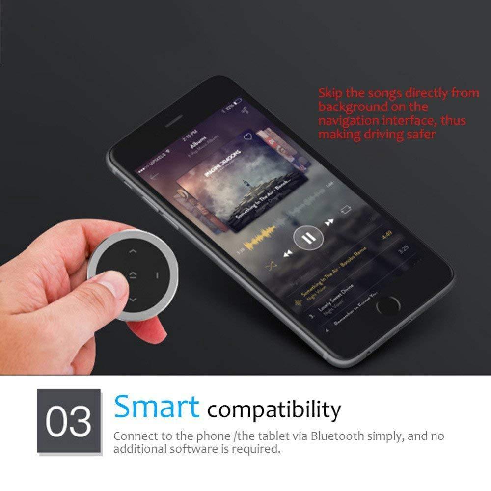 XZANTE Multim/éDia De T/éL/éPhone Portable De Voiture sans Fil R/éGulateur De T/éL/éCommande De Volant Multifonction Bluetooth Argent