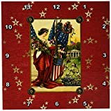 3dRose DPP_192588_2 Vintage Post Card Look, Lady with American Flags with Gold Stars Wall Clock, 13 by 13″ Review