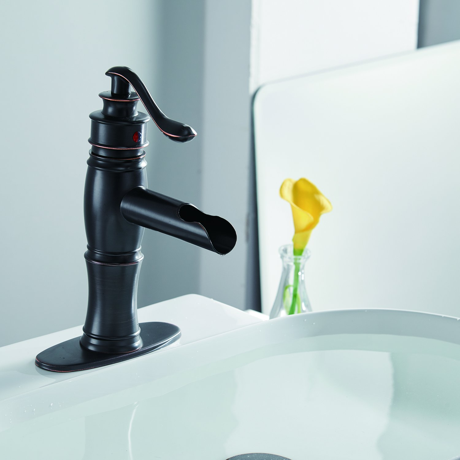 BWE Waterfall Oil Rubbed Bronze Bathroom Sink Faucet Single Handle ...