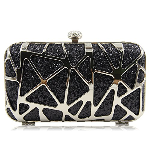 Bag Box Purse Black Clutch Sparkly Party Wedding Women Fashion for Evening PqIfHB