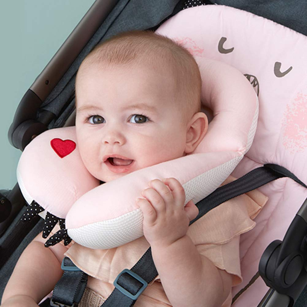 Bebamour Baby Pillow Toddler Neck Protection Pillow for Stroller Cotton Head Rest Support Pillow for Travelling Head Cushion for Newborn (Pink)