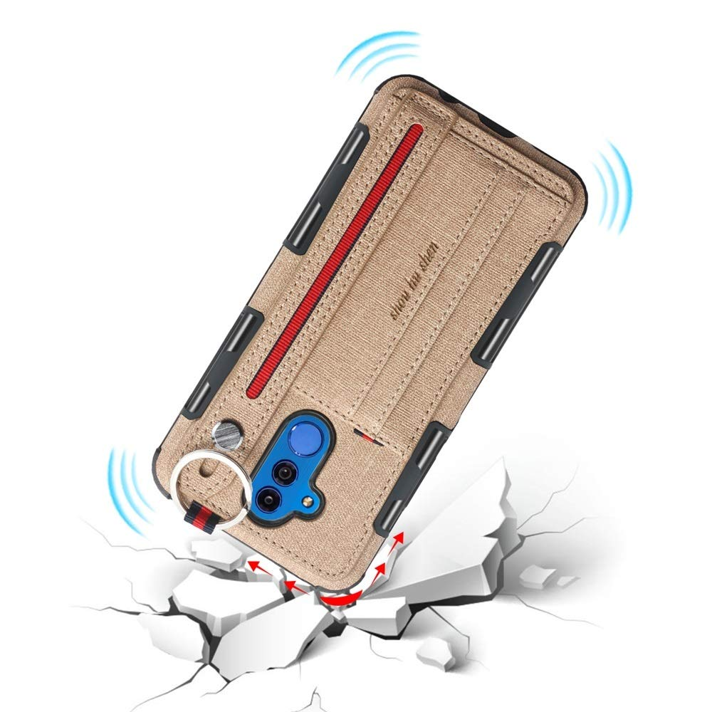 ZHENGYIXIA CASES F/ür Huawei F/älle /& Abdeckungen F/ür Huawei Mate 20 lite Handgelenk Band leinwand Tuch textur sto/ßfest schutzh/ülle mit kartensteckpl/ätze kompatibel mit Farbe : Grau