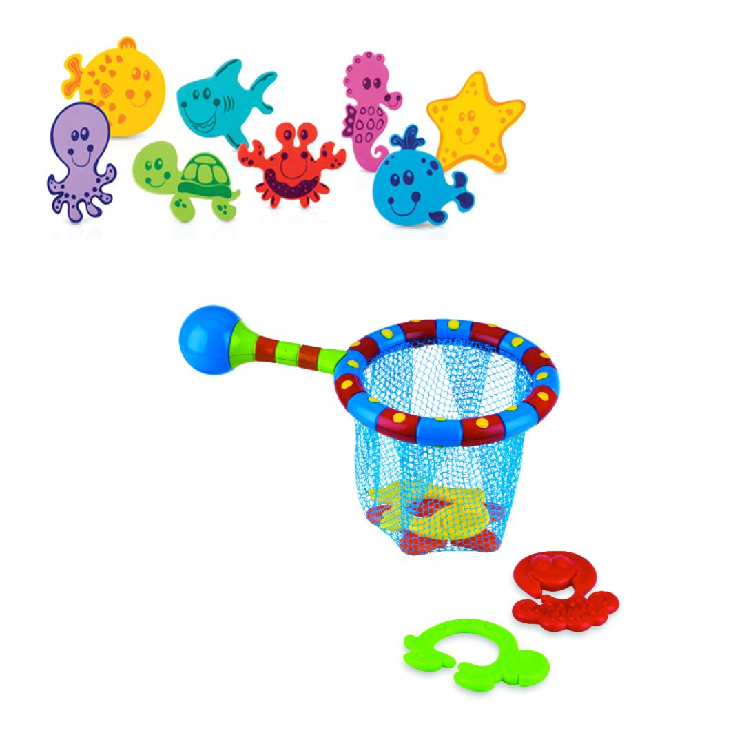 Nuby Bath Animals and Splash N' Catch Set