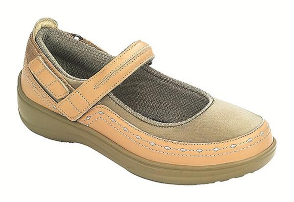 Orthofeet Chickasaw Orthopedic Diabetic Women's Stretchable Mary Jane Shoes B00E3LB4IY 11.5 XW US|Tan
