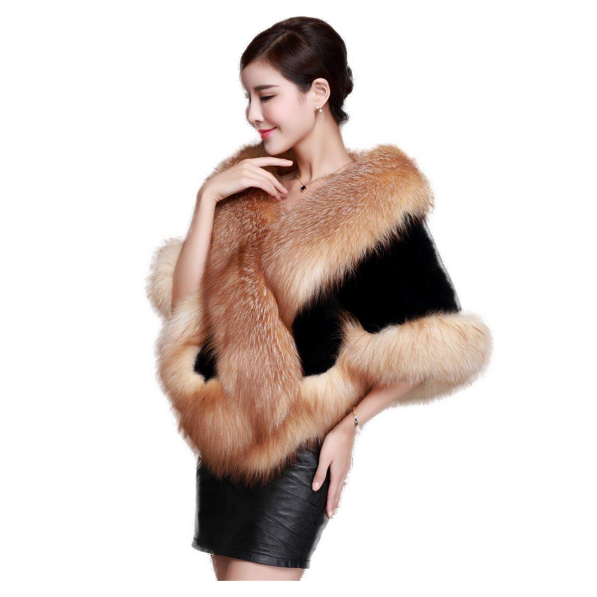 Rex Rabbit Shawl Wrap Stole Poncho Red Silve Fox Wrap White Fur Wedding Custom (Red Fox)