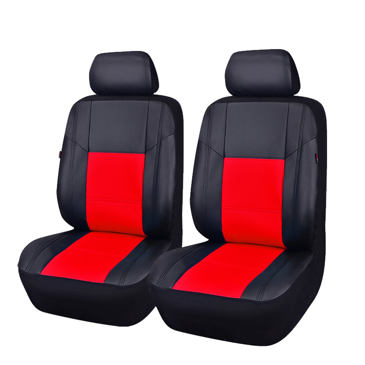 CAR PASS Skyline PU Leather CAR SEAT Covers Universal FIT for Cars,SUV,Vehicles 11PCS, Black with Cream
