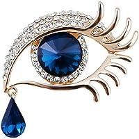 Qiwenr Rhinestone Ángel lágrimas Ojos Broche,Lágrima de Angel Crystal Rhinestone Diamond Encanto Ojos lágrima Gota…