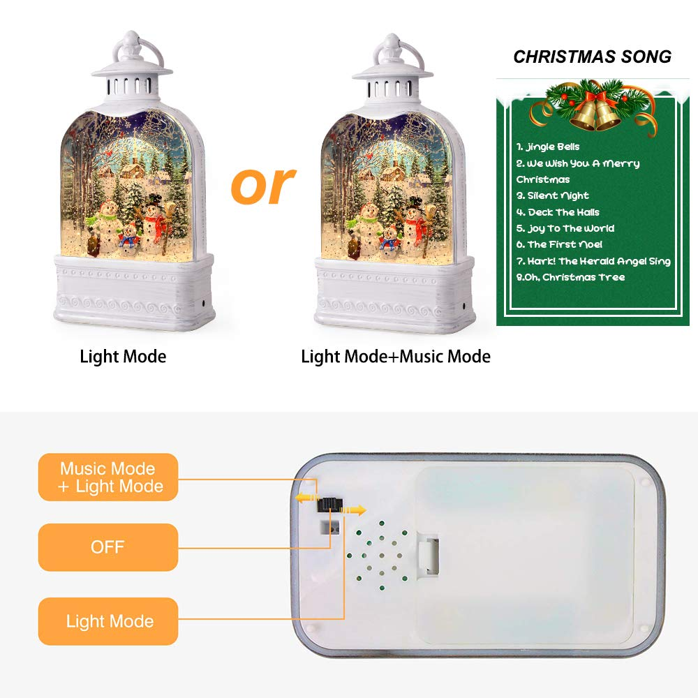 GYMAOYI Musical Snow Globe Lantern Christmas Snow Spinning Water Glittering Home Decoration and Gift Snowman