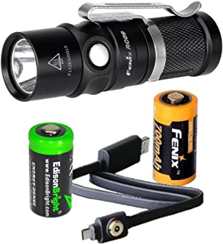 Fenix E15 450 Lumen CREE LED EDC Flashlight Fenix ARB-L16-700U USB rechargeable battery and EdisonBright CR123A Lithium Battery bundle