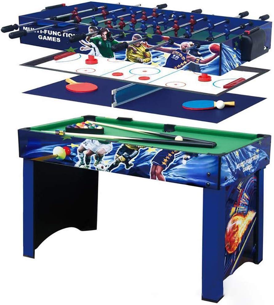 FZTX-LPX Futbolín Multifuncional/Mesa de Billar/Mesa de Hockey sobre Hielo/Mesa de Ping-Pong 4 en 1 Adecuado para Jugar en Interiores y Exteriores para Adultos y niños