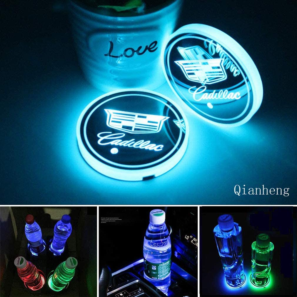 2pcs LED Car Cup Holder Lights for GMC 7 Colors Changing USB Charging Mat Luminescent Cup Pad LED Interior Atmosphere Lamp