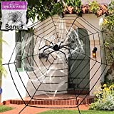 11.8 Feet Black Plush Spider Web Stretch Cobweb Set with Realistic Looking Hairy Spider, Best for Halloween Outdoor Yard Haunted House Party Decoration, Decor Supplies Props Party Favor
