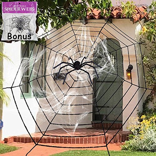 Tree Trunks Costume (11.8 Feet Black Plush Spider Web Stretch Cobweb Set with Realistic Looking Hairy Spider, Best for Halloween Outdoor Yard Haunted House Party Decoration, Decor Supplies Props Party Favor)