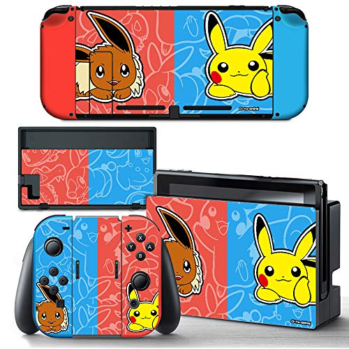 Ci-Yu-Online VINYL SKIN [NS] Eevee Pikachu Red Blue STICKER DECAL COVER for Nintendo Switch Console and Joy-Con Controllers
