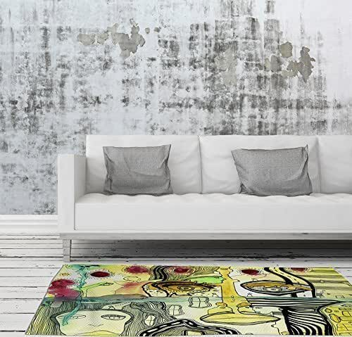 Funky Rainbow Colored Area Rugs: Amazon.com: Modern Industrial Psychedelic Colorful Area