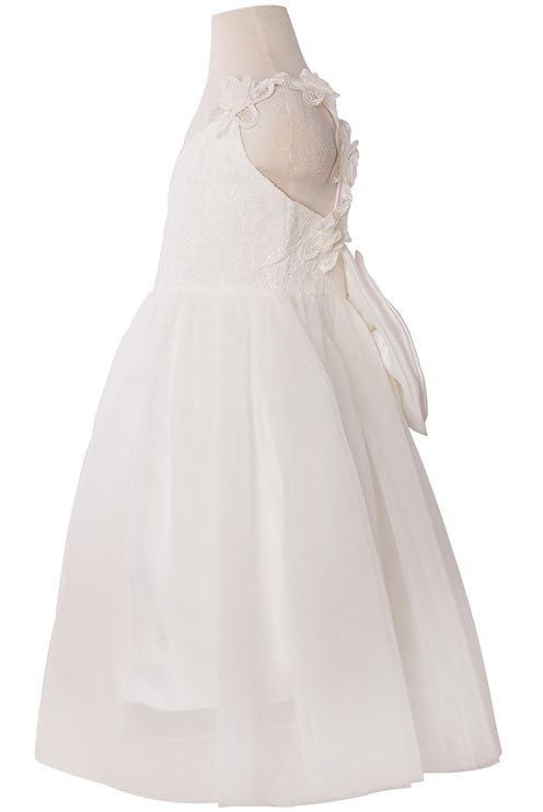 14258626227e Amazon.com: Holy Unicorn Lovely Lace V-Neck Backless Flower Girl Dress 3 -  12: Clothing