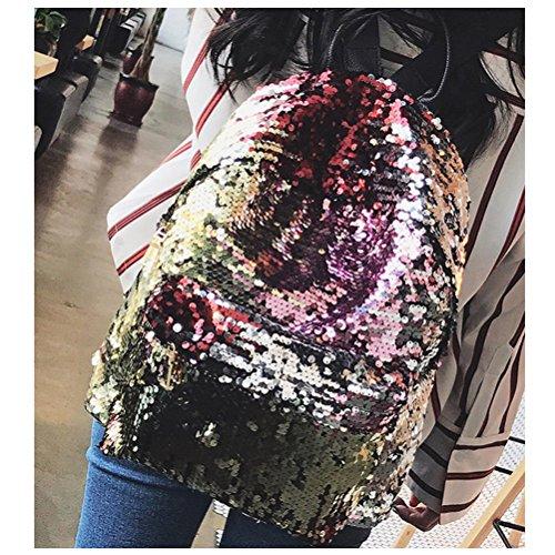 Frauen Mädchen Sequins Golden Satchel für Paillette Daypacks Casual Sport Schultertasche Rucksack Tinksky Wandern Umhängetasche für Outdoor 6qOBdww