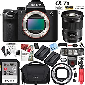 Sony a7 II Mirrorless 42.4MP Camera with Sigma 50mm f/1.4 DG HSM ART Lens and MC-11 Mount Converter 64GB Dual Battery Accessories Kit