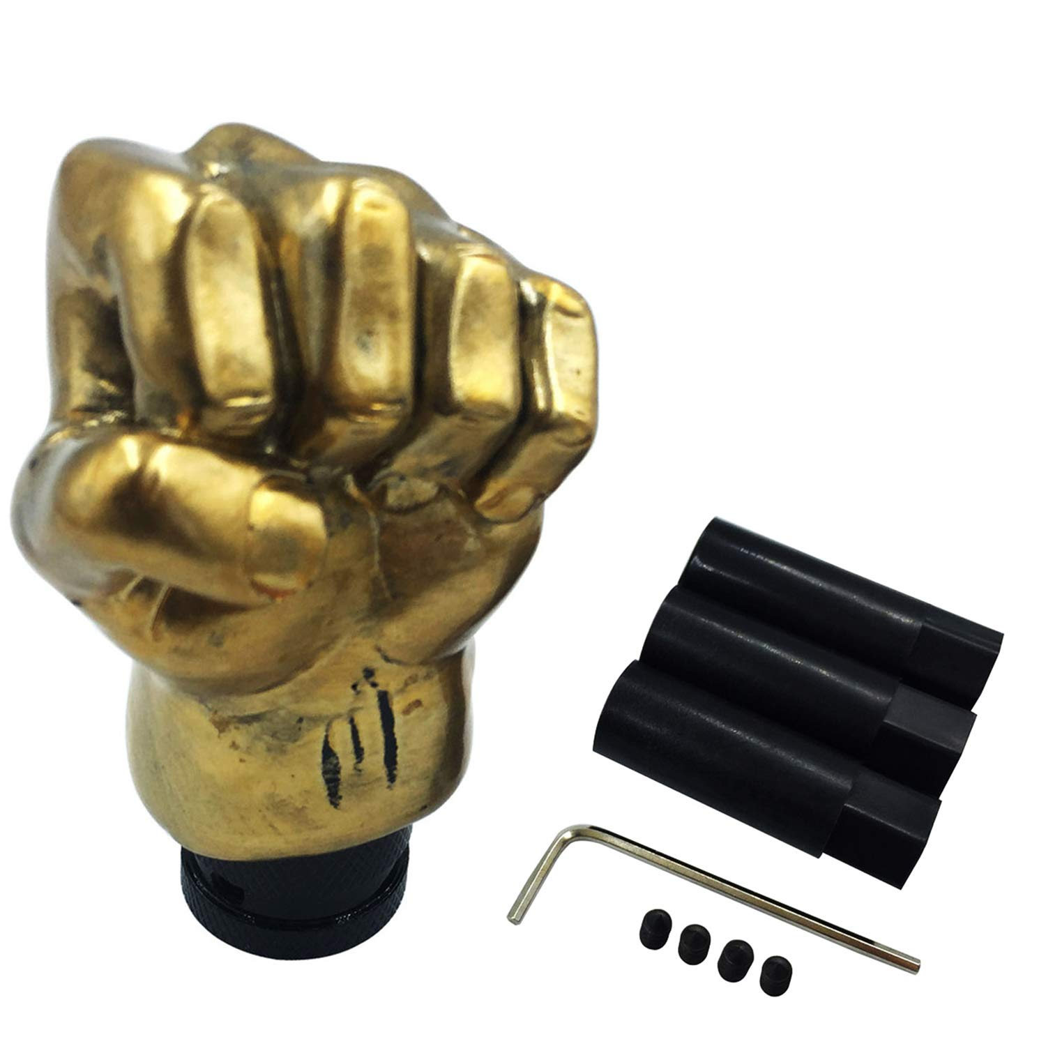 Abfer Gear Shifter Knob Car Stick Shift Lever Fist Shape Fit Most Universal Manual Automatic Vehicle Silver