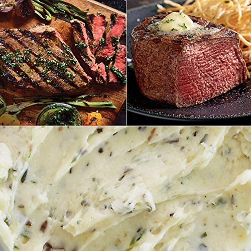 Kansas City Steaks Father's Day Flavor Feast - 4 (8 oz) Boneless Ribeye Steaks, 4 (6 oz) Super Trimmed Filet Mignon, 1 (3.5 oz) Roasted Garlic Butter and 1 (3.5 oz) Tuscan Herb Butter