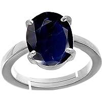 Todani Jems® 3.25 Ratti Certified Blue Sapphire (Neelam) Silver+White Metal KANTA Ring for Men And Women