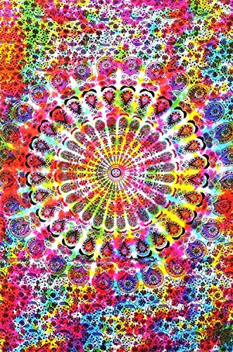 Colorful Tie Dye Mandala Tapestry Hippie Hippy Throw Bedspread Dorm Decor Bohemian Bedspread Bed Cover Bedding Psychedelic Tapestry Picnic Beach Sheet (Tie Dye Wall Tapestries)