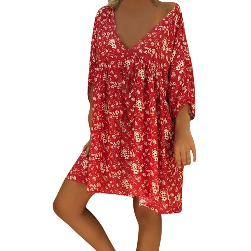 Forthery-Women T Shirt Dress Plus Size Floral Boho Summer Beach Swing Dress Sundress(Red,Small)