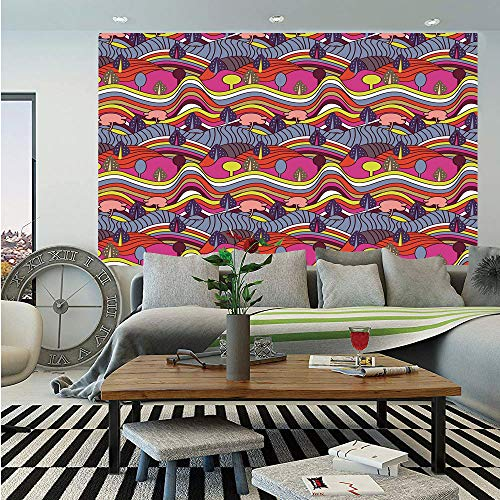 SoSung Grunge Removable Wall Mural,Cartoon Doodle Style Landscape Image Vibrant Color Palette Abstract Hills and Trees Decorative,Self-Adhesive Large Wallpaper for Home Decor 66x96 inches,Multicolor