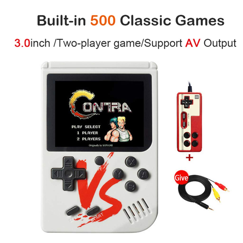 Tebatu Game Player,Retro Mini Handheld Game Console 8 Bit 3.0 Inch Portable Built-in 500 Games Video Game Console