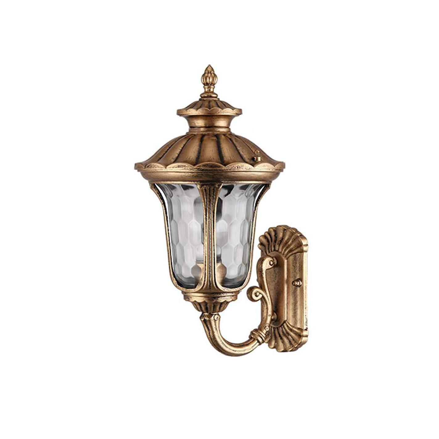 HZB Außenwandleuchte, Balkonkorridor, wasserdichte Außenwand der Europäischen Retro-Hoflampe, Antikes Kupfer 1 (Größe   S)