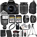 Canon EOS Rebel T6i / 750D Digital SLR Camera + Canon EF-S 18-55mm f/3.5-5.6 IS STM Lens - 3 Lens Kit + 64GB Storage + Pro Flash - All Original Accessories Included - International Version