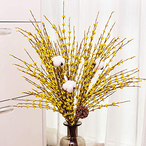 YUYAO 12 Pcs Artificial Jasmine Flowers Fake Long Flower Branches Dry Flowers for Wedding Home Office Party Decoration (Yellow)